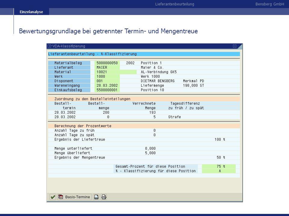 Bewertungsgrundlage bei getrennter Termin- und Mengentreue