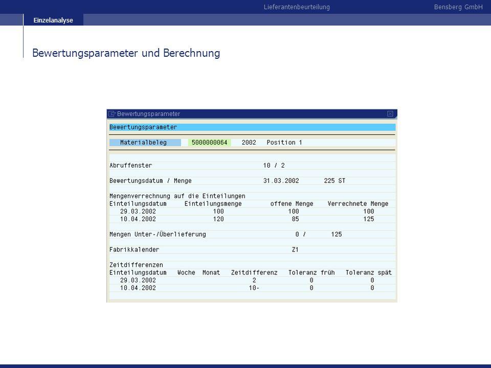 Bewertungsparameter und Berechnung