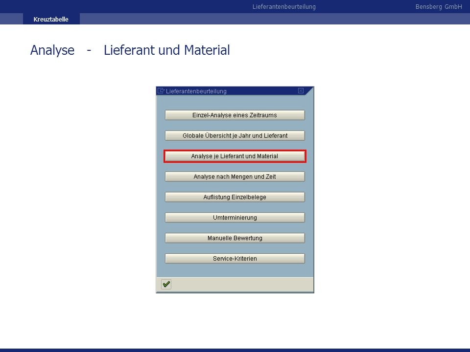Analyse - Lieferant und Material