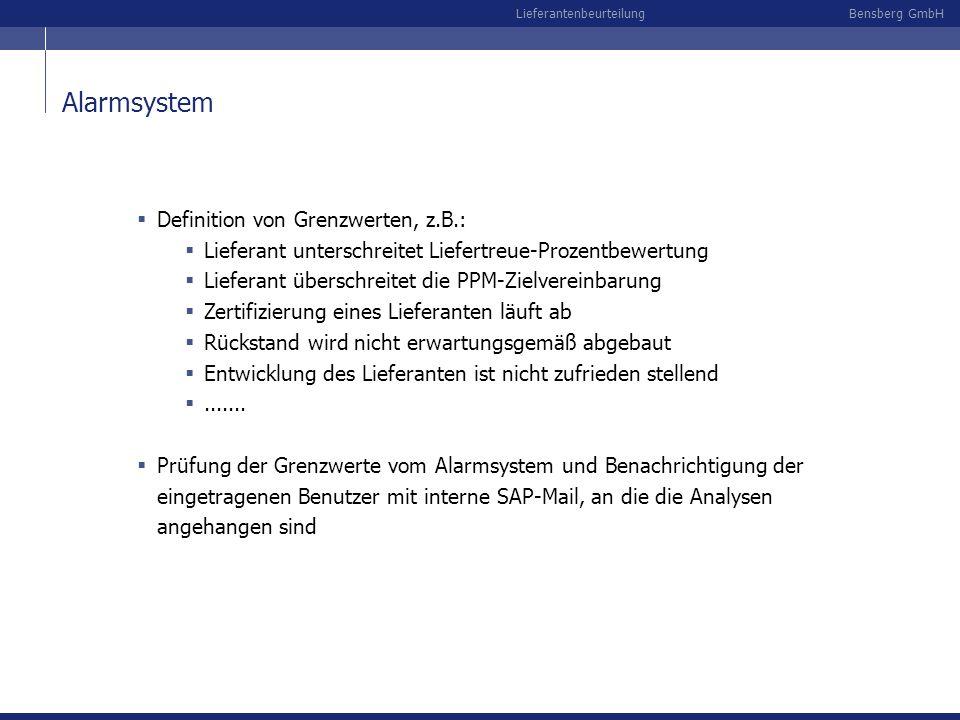 Alarmsystem Definition von Grenzwerten, z.B.: