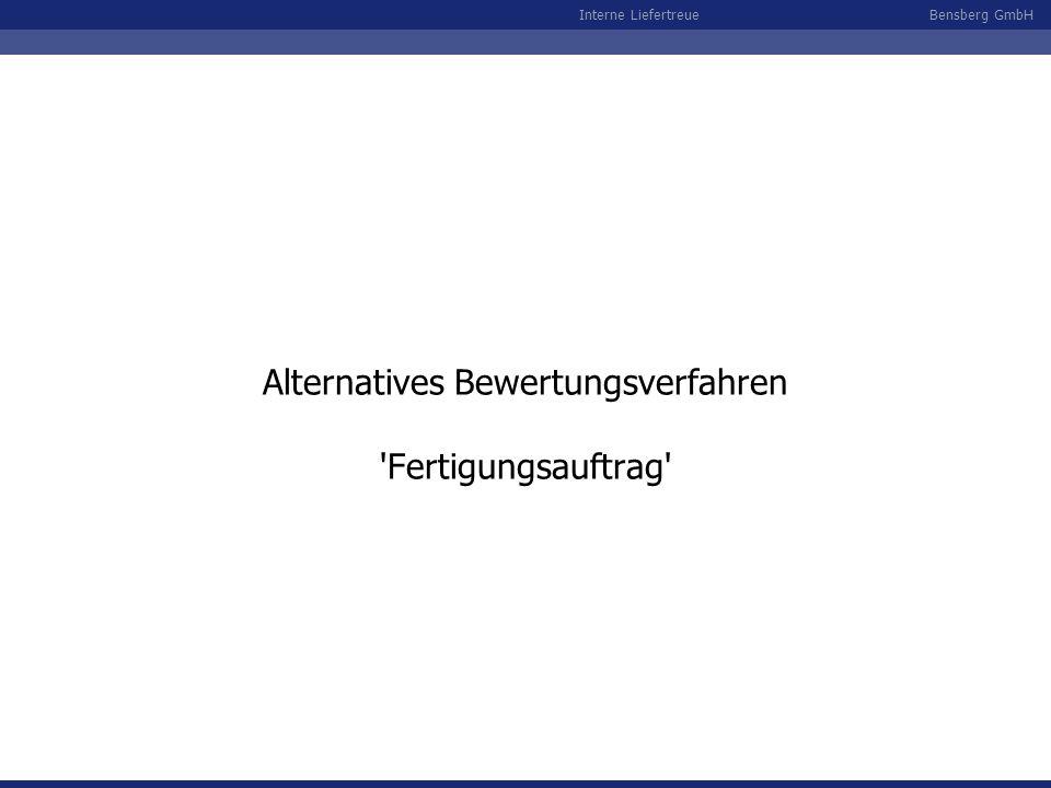 Alternatives Bewertungsverfahren Fertigungsauftrag
