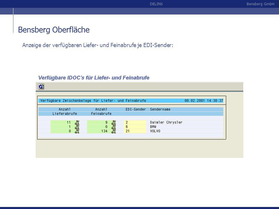Bensberg Oberfläche Anzeige der verfügbaren Liefer- und Feinabrufe je EDI-Sender: