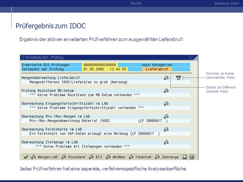 Prüfergebnis zum IDOCErgebnis der aktiven erweiterten Prüfverfahren zum ausgewählten Lieferabruf: Formular an Kunde (übernächste Folie)