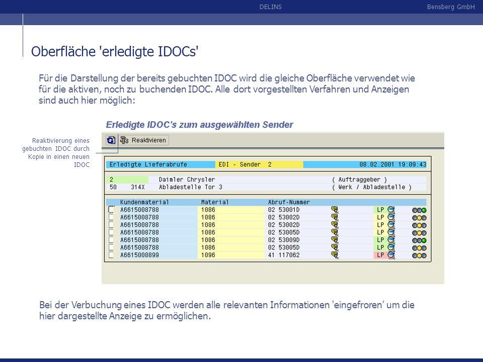 Oberfläche erledigte IDOCs