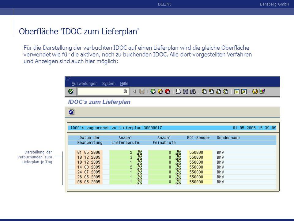 Oberfläche IDOC zum Lieferplan