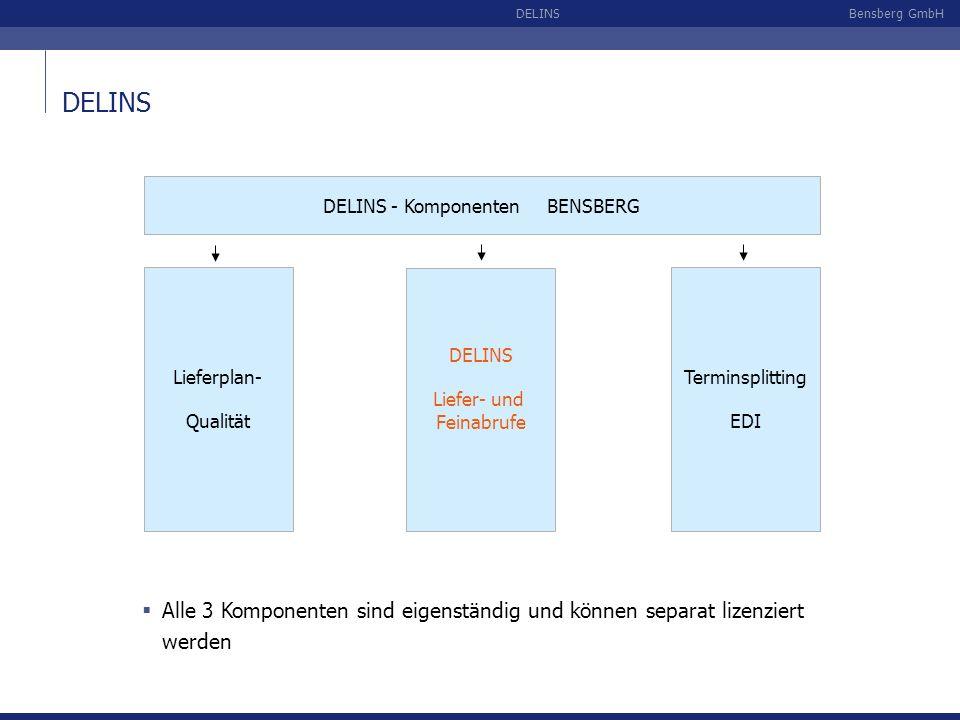 DELINS DELINS - Komponenten BENSBERG. Lieferplan- Qualität. DELINS. Liefer- und Feinabrufe.