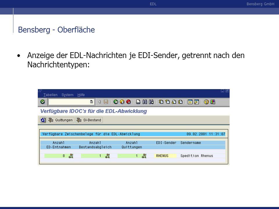 Bensberg - Oberfläche Anzeige der EDL-Nachrichten je EDI-Sender, getrennt nach den Nachrichtentypen: