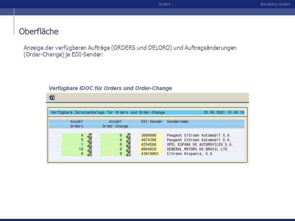 Oberfläche Anzeige der verfügbaren Aufträge (ORDERS und DELORD) und Auftragsänderungen (Order-Change) je EDI-Sender: