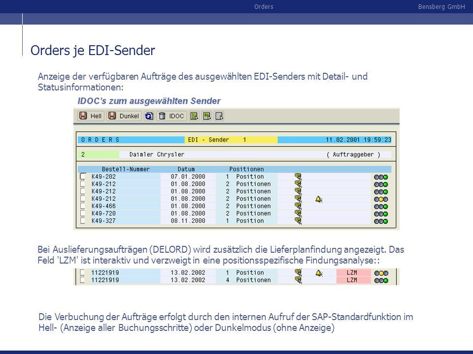 Orders je EDI-Sender Anzeige der verfügbaren Aufträge des ausgewählten EDI-Senders mit Detail- und Statusinformationen: