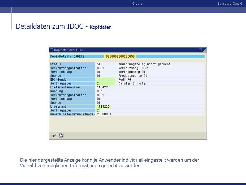 Detaildaten zum IDOC - Kopfdaten