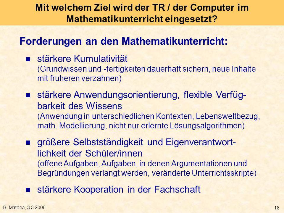 Forderungen an den Mathematikunterricht: