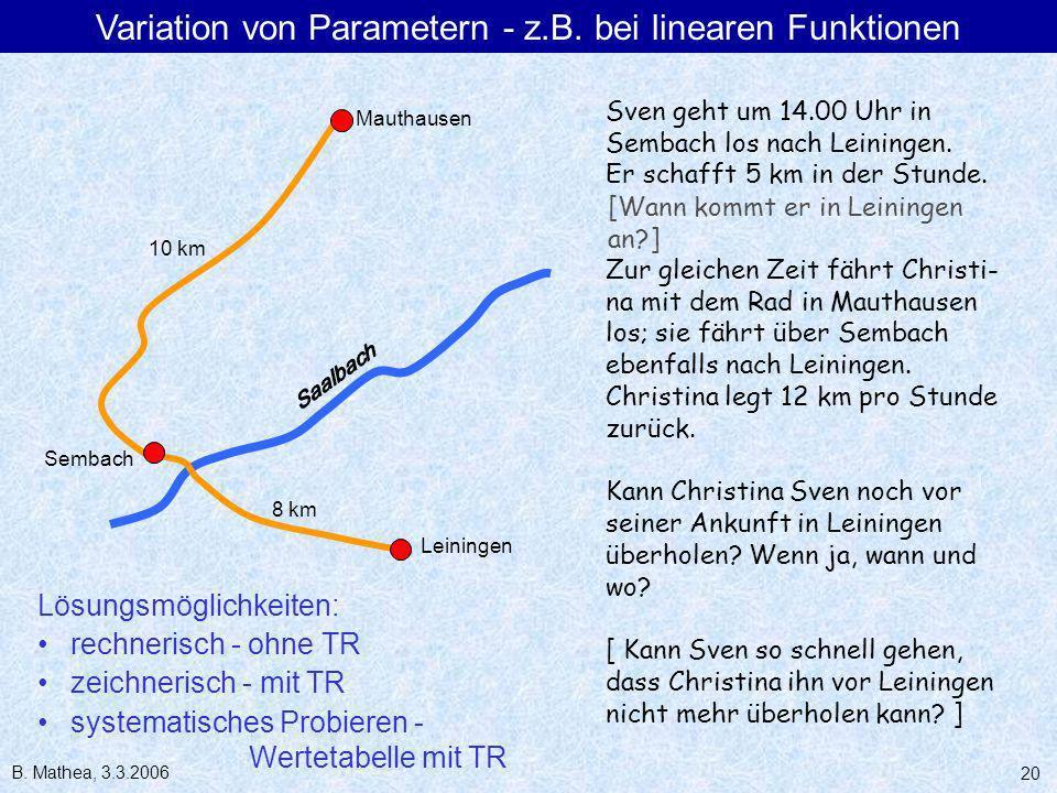 Variation von Parametern - z.B. bei linearen Funktionen