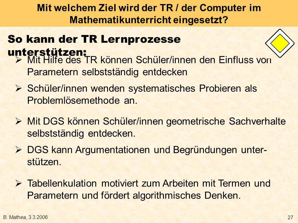 So kann der TR Lernprozesse unterstützen: