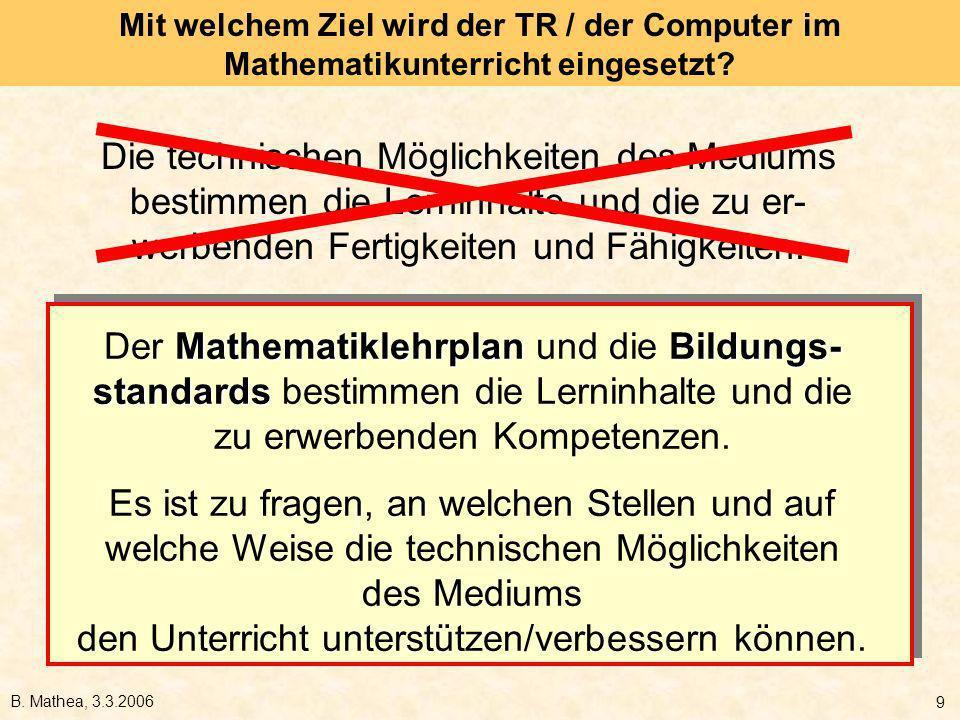 Mit welchem Ziel wird der TR / der Computer im Mathematikunterricht eingesetzt