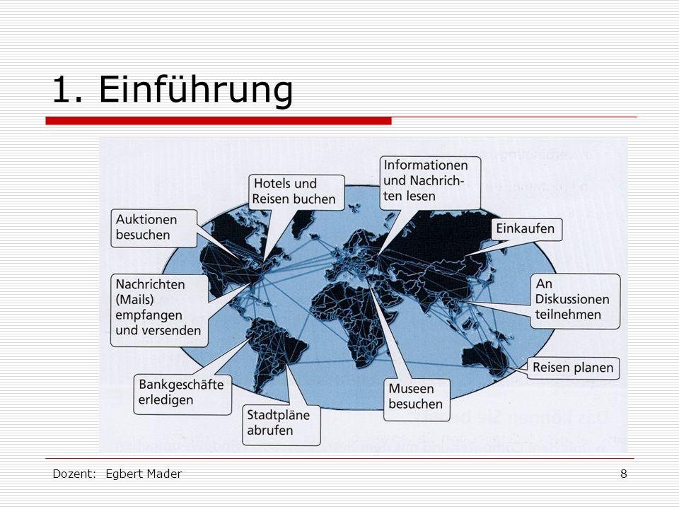 1. Einführung Dozent: Egbert Mader