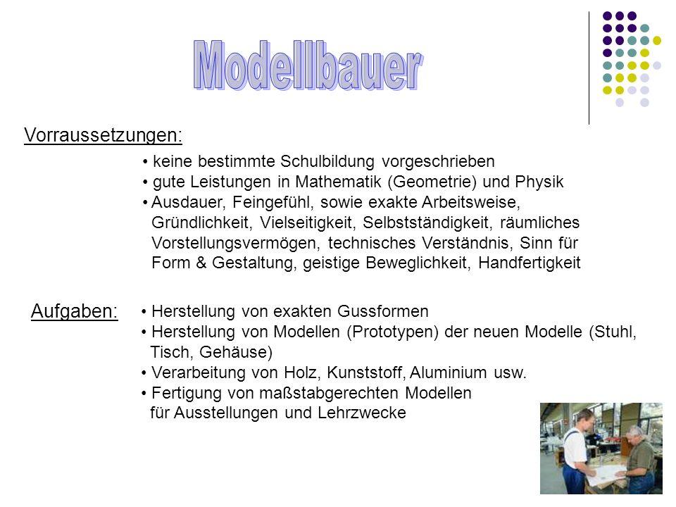 Modellbauer Vorraussetzungen: Aufgaben: