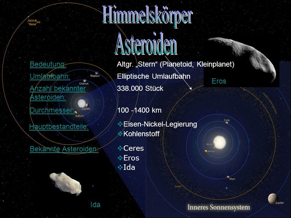 Himmelskörper Asteroiden Bedeutung: