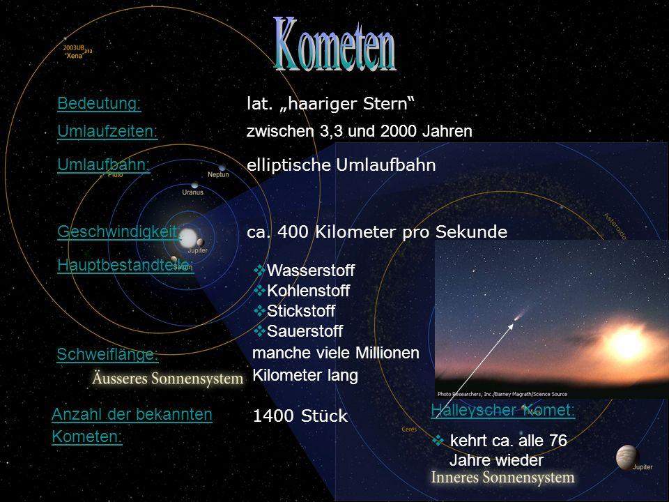 """Kometen Bedeutung: lat. """"haariger Stern Umlaufzeiten:"""