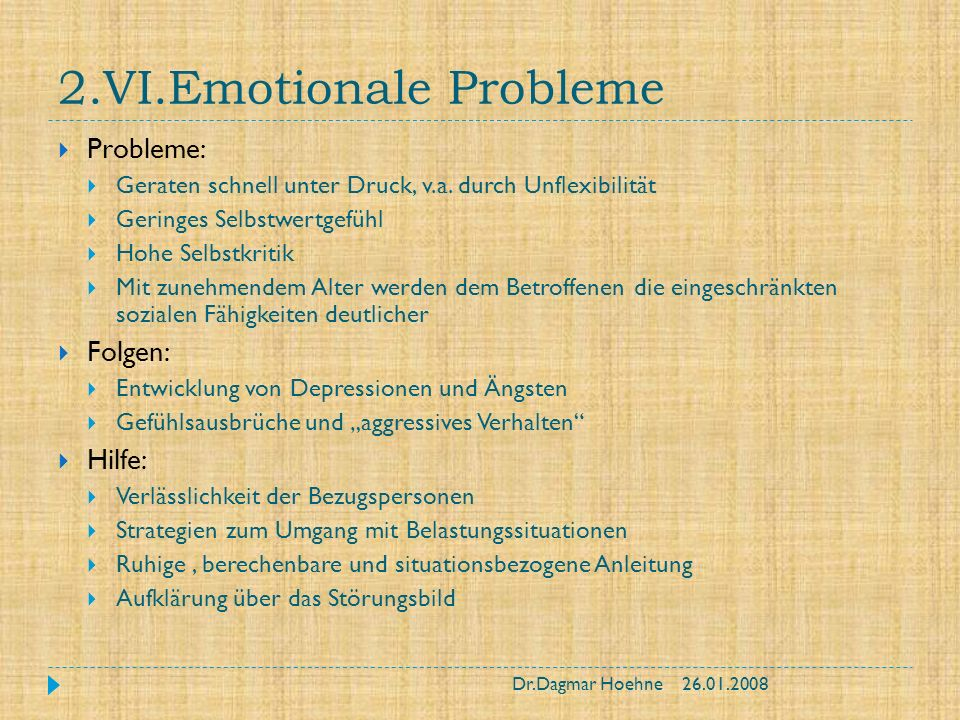 2.VI.Emotionale Probleme