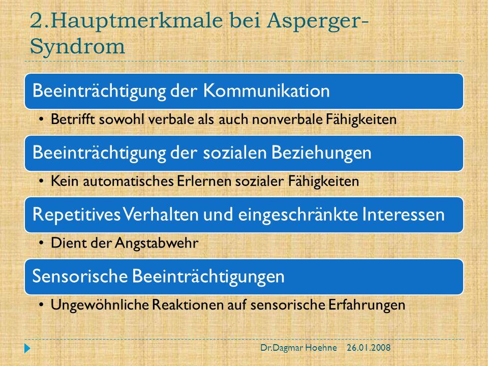 2.Hauptmerkmale bei Asperger-Syndrom