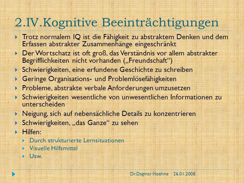 2.IV.Kognitive Beeinträchtigungen