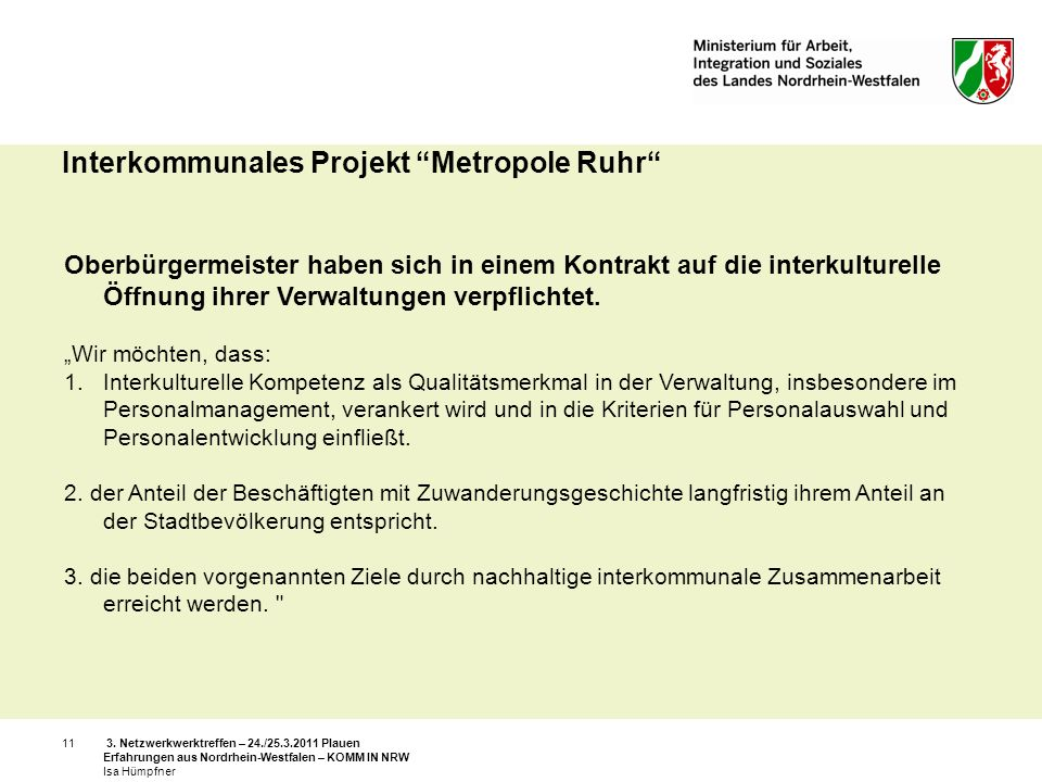 Interkommunales Projekt Metropole Ruhr