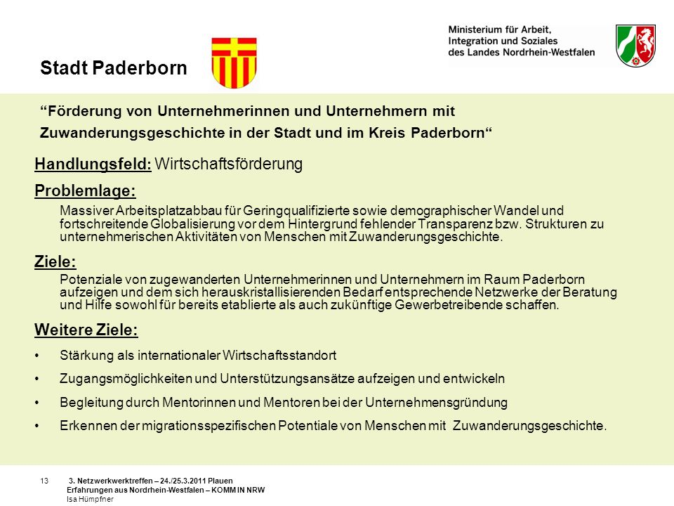 Stadt Paderborn Förderung von Unternehmerinnen und Unternehmern mit Zuwanderungsgeschichte in der Stadt und im Kreis Paderborn
