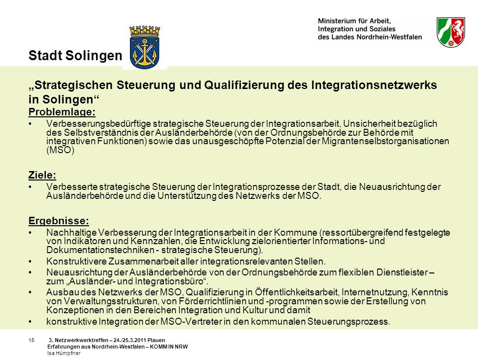 """Stadt Solingen """"Strategischen Steuerung und Qualifizierung des Integrationsnetzwerks in Solingen"""