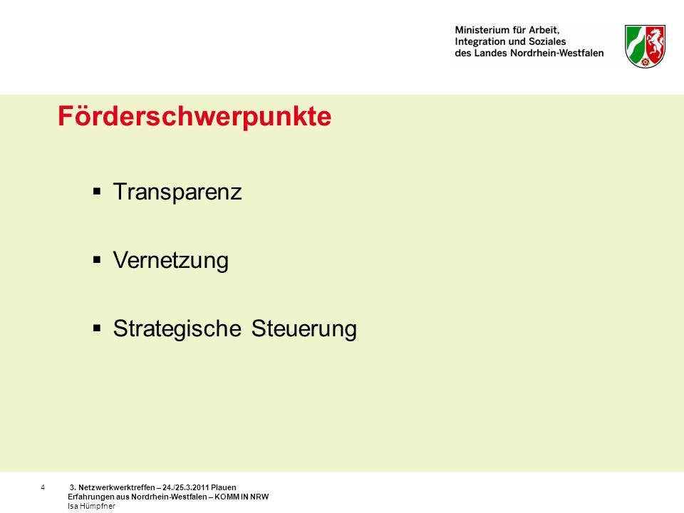 Förderschwerpunkte Transparenz Vernetzung Strategische Steuerung