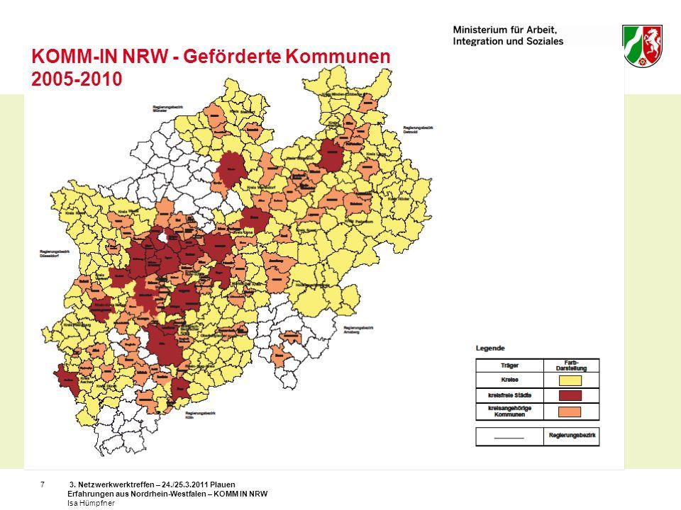 KOMM-IN NRW - Geförderte Kommunen 2005-2010