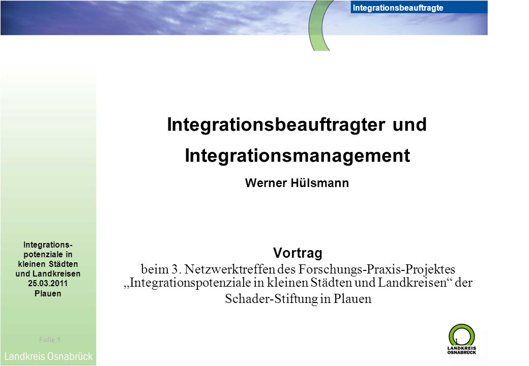 Integrationsbeauftragter und Integrationsmanagement