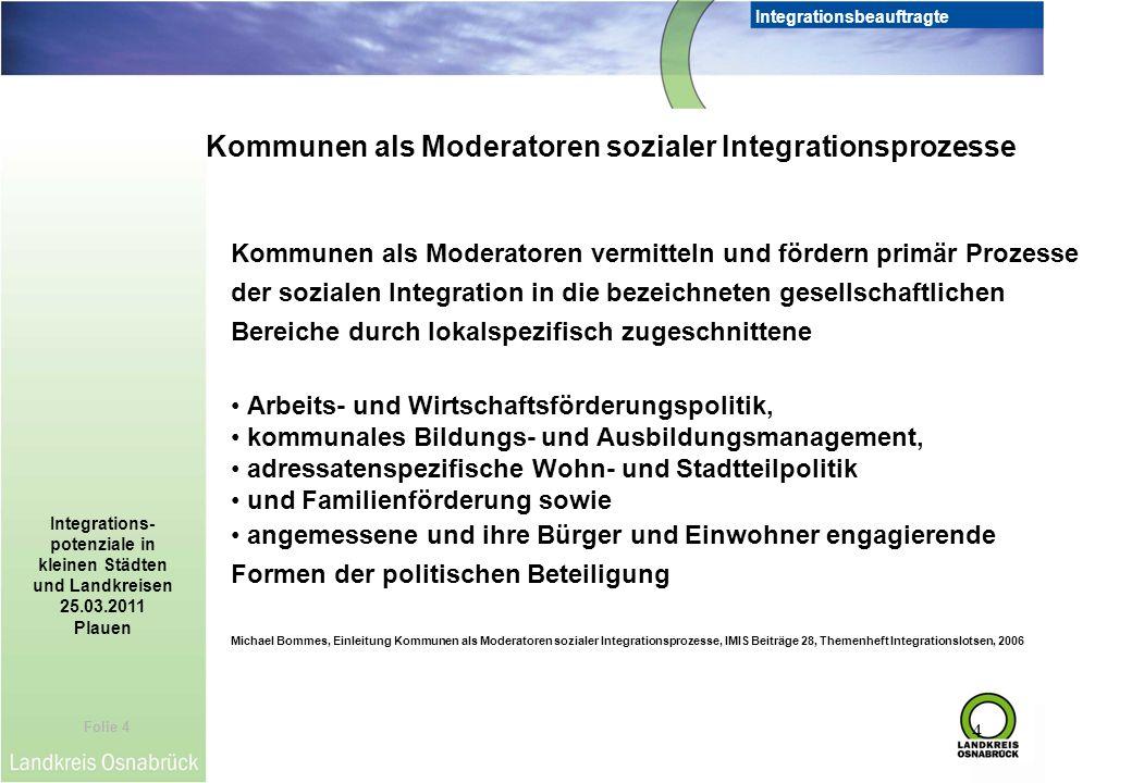Kommunen als Moderatoren sozialer Integrationsprozesse