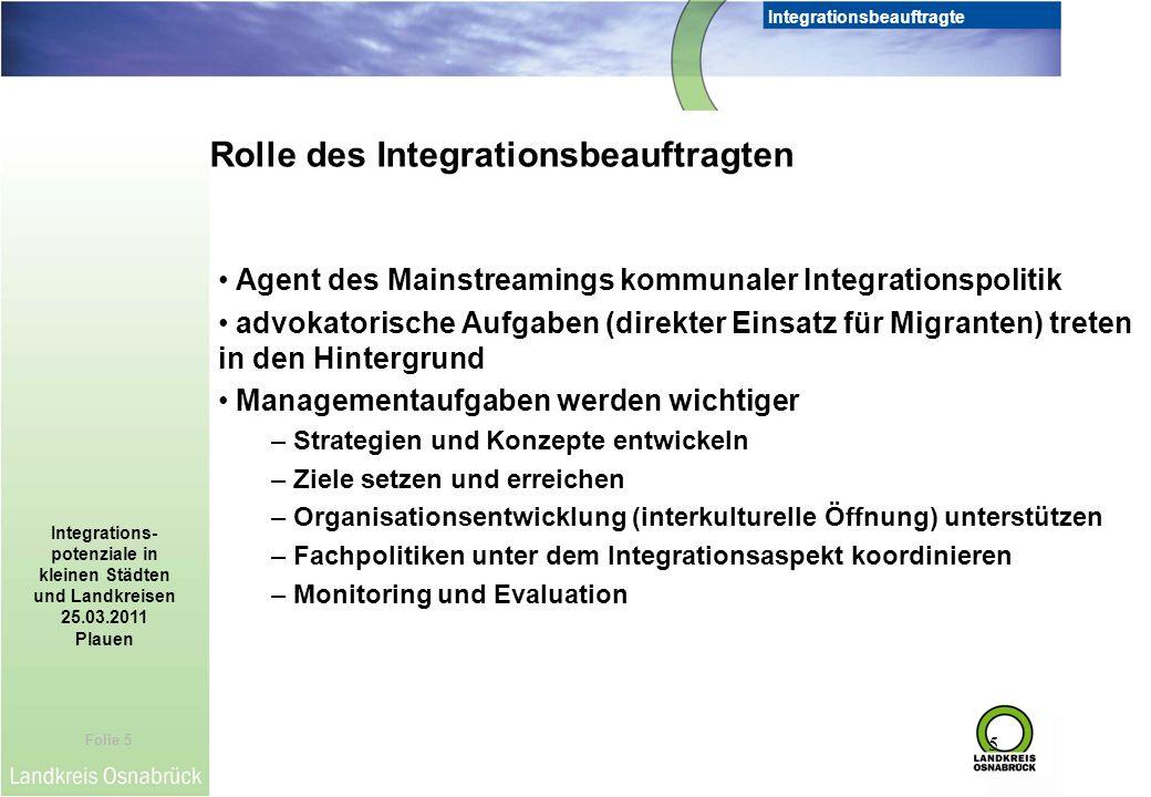 Rolle des Integrationsbeauftragten