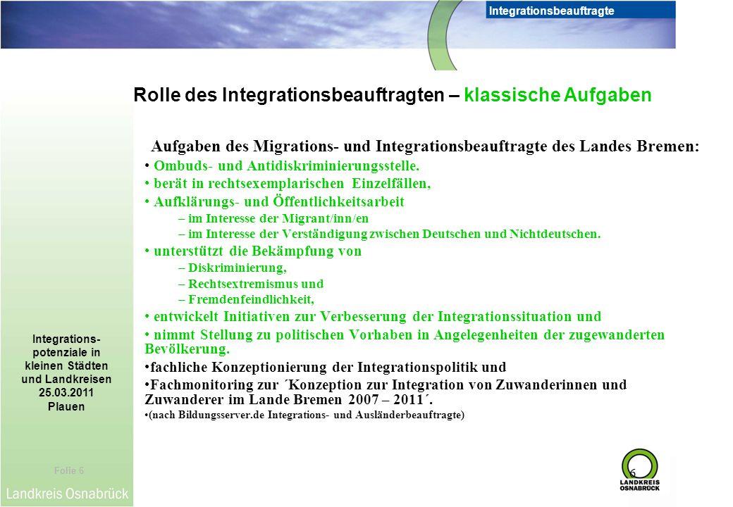 Rolle des Integrationsbeauftragten – klassische Aufgaben