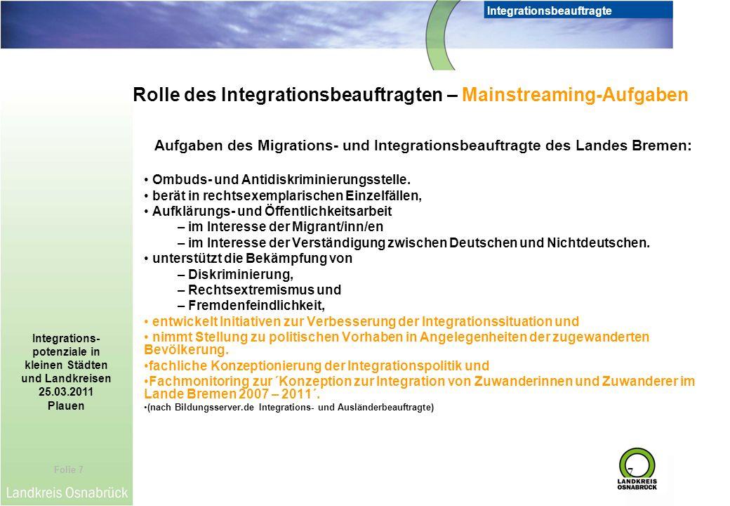 Rolle des Integrationsbeauftragten – Mainstreaming-Aufgaben