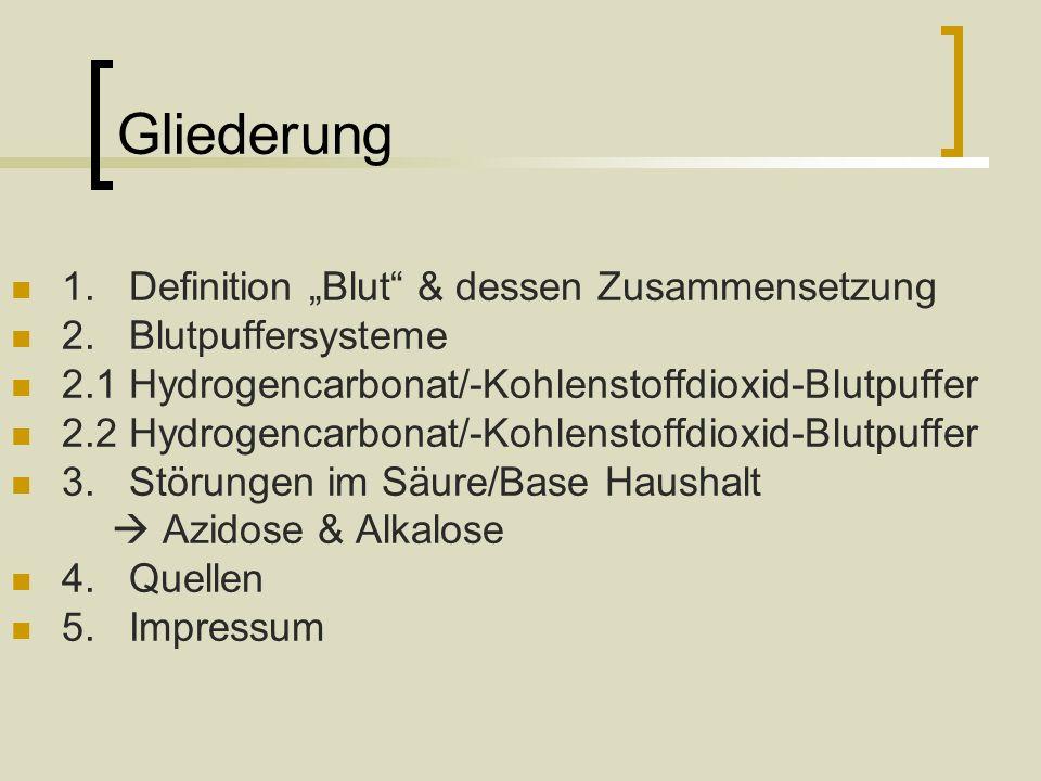 """Gliederung 1. Definition """"Blut & dessen Zusammensetzung"""
