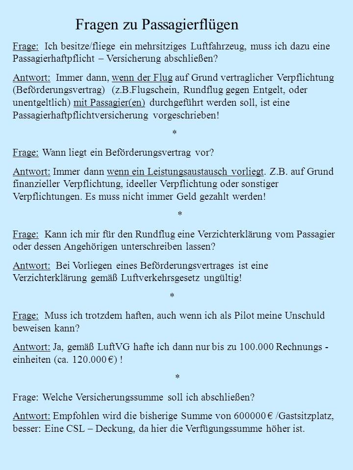 Fragen zu Passagierflügen