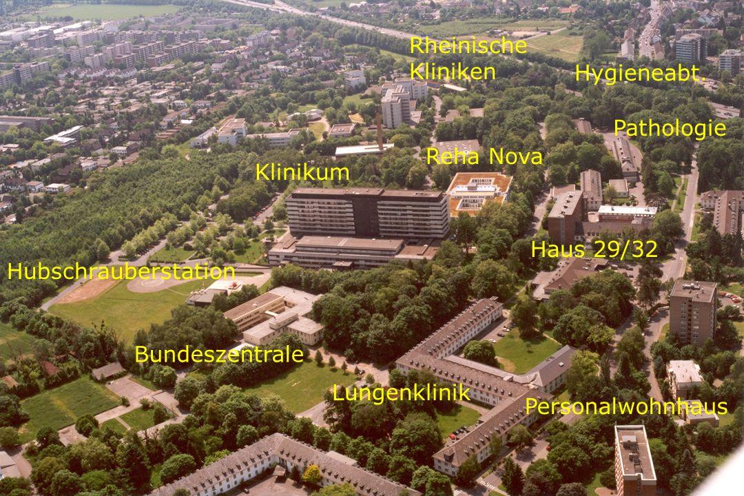 Rheinische Kliniken Hygieneabt. Pathologie. Reha Nova. Klinikum. Haus 29/32. Hubschrauberstation.