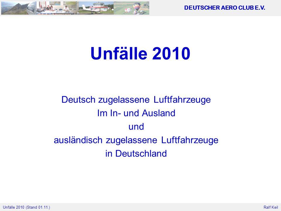 Unfälle 2010 Deutsch zugelassene Luftfahrzeuge Im In- und Ausland und