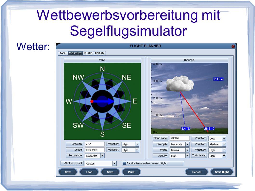Wettbewerbsvorbereitung mit Segelflugsimulator