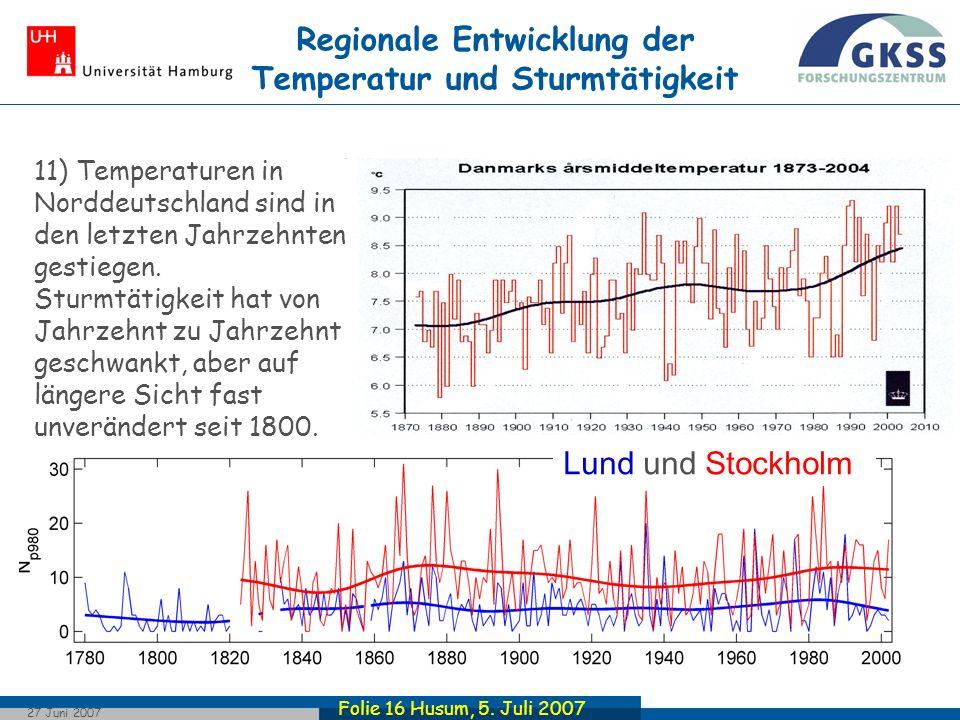 Regionale Entwicklung der Temperatur und Sturmtätigkeit