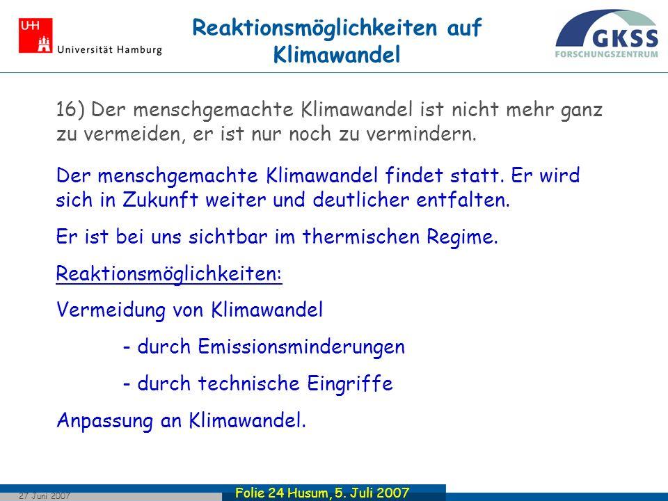 Reaktionsmöglichkeiten auf Klimawandel