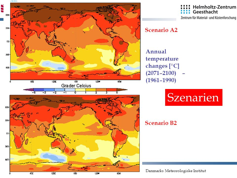 Szenarien Scenario A2 Annual temperature changes [°C]