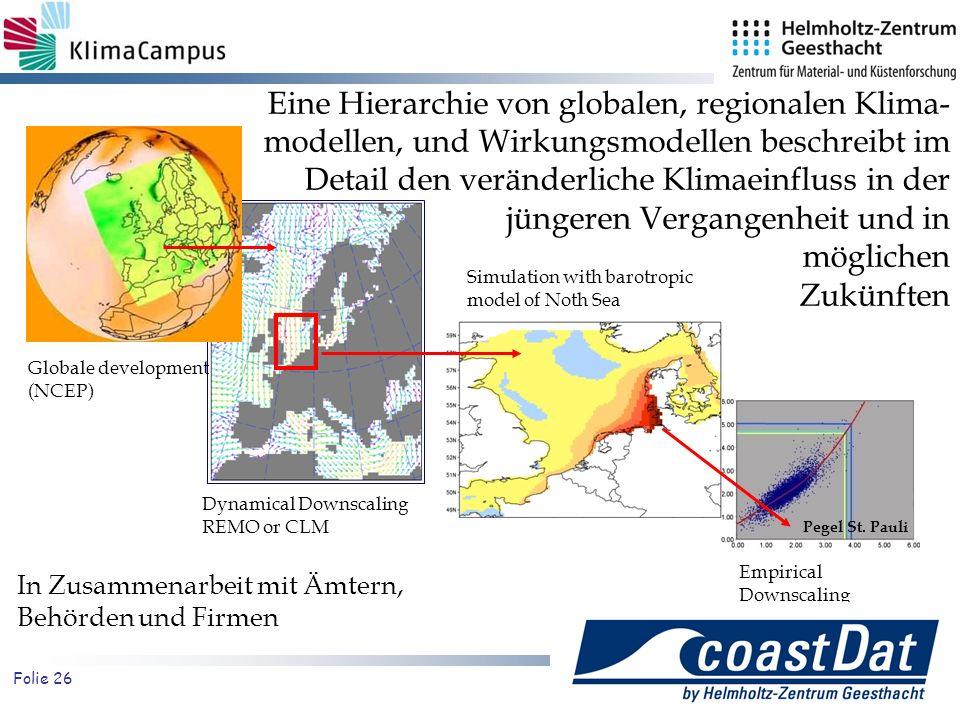 Eine Hierarchie von globalen, regionalen Klima-modellen, und Wirkungsmodellen beschreibt im Detail den veränderliche Klimaeinfluss in der jüngeren Vergangenheit und in möglichen Zukünften