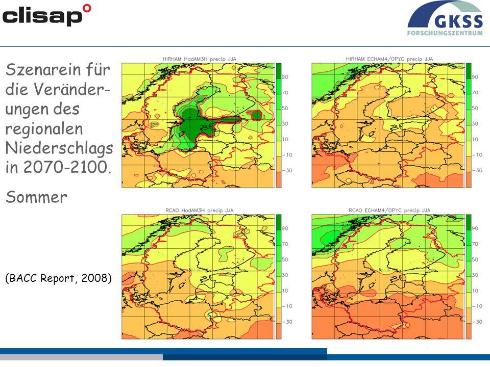 Szenarein für die Veränder-ungen des regionalen Niederschlags in 2070-2100.