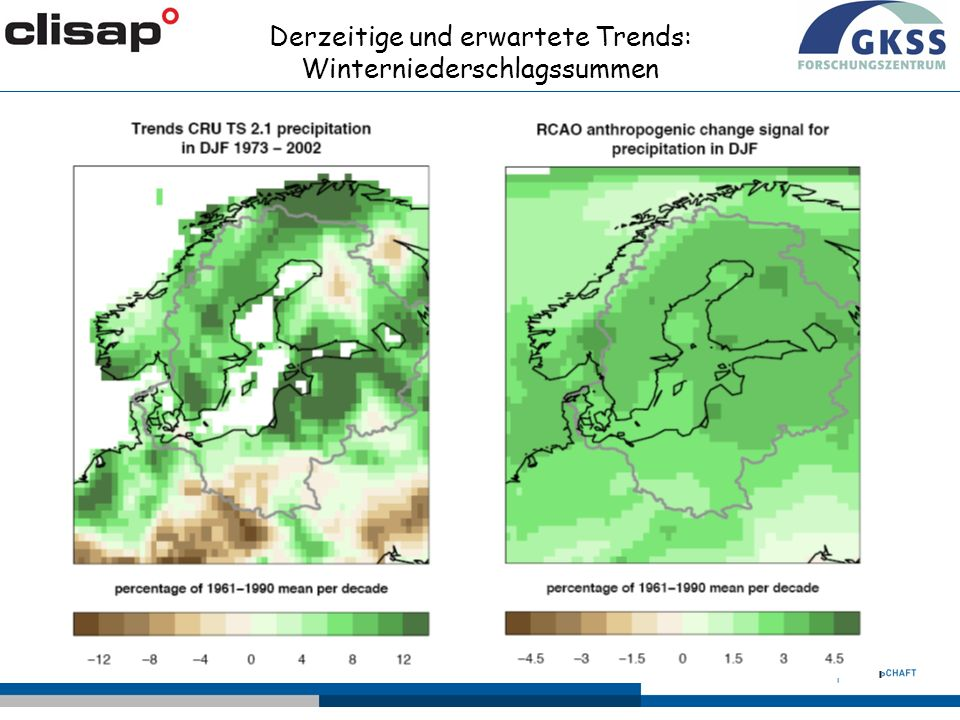 Derzeitige und erwartete Trends: Winterniederschlagssummen