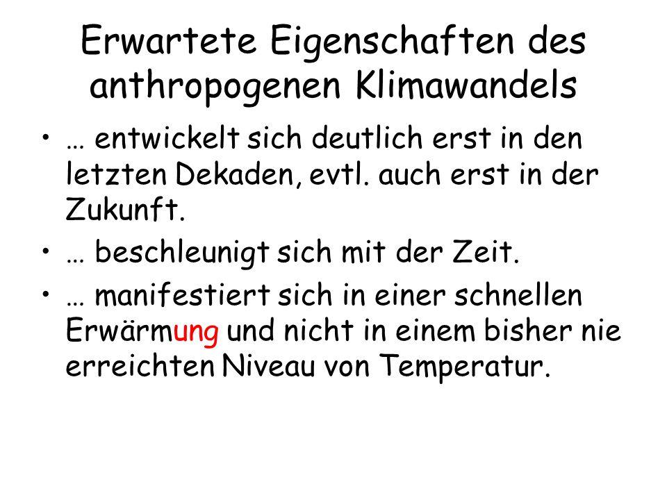 Erwartete Eigenschaften des anthropogenen Klimawandels