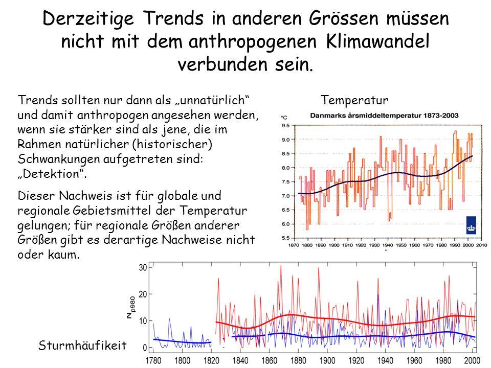 Derzeitige Trends in anderen Grössen müssen nicht mit dem anthropogenen Klimawandel verbunden sein.