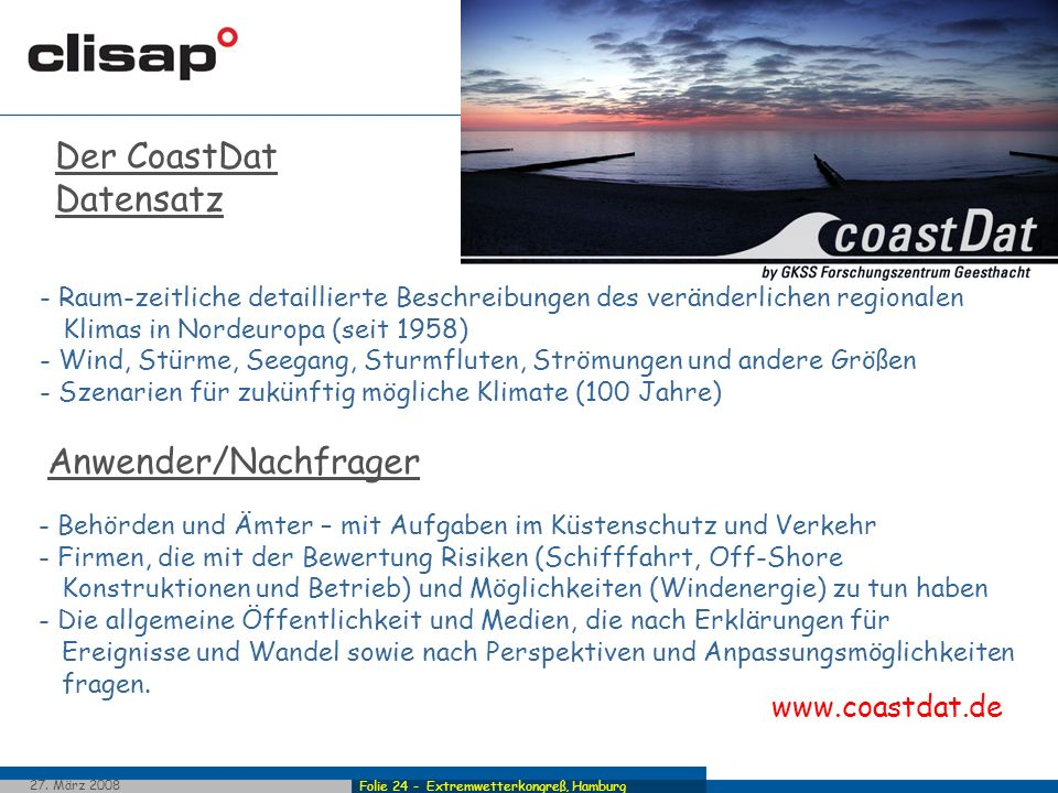 Der CoastDat Datensatz GKSS in Geesthacht