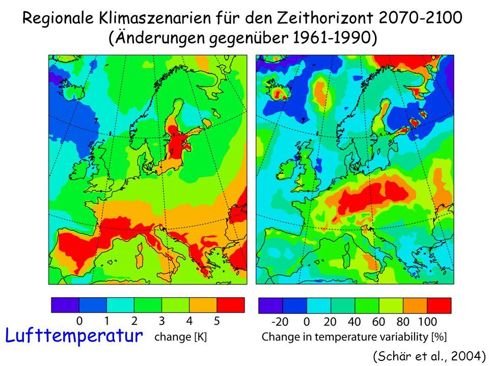 Regionale Klimaszenarien für den Zeithorizont 2070-2100 (Änderungen gegenüber 1961-1990)